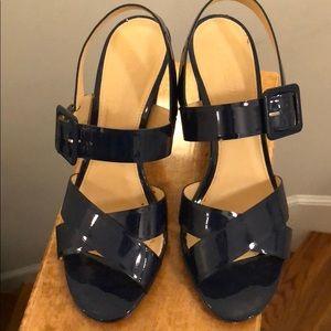 JCrew Patent Leather Sling-Back Dress Heel (Navy)